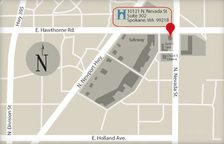 Map to Dr. Heinrich's Dental office in North Spokane